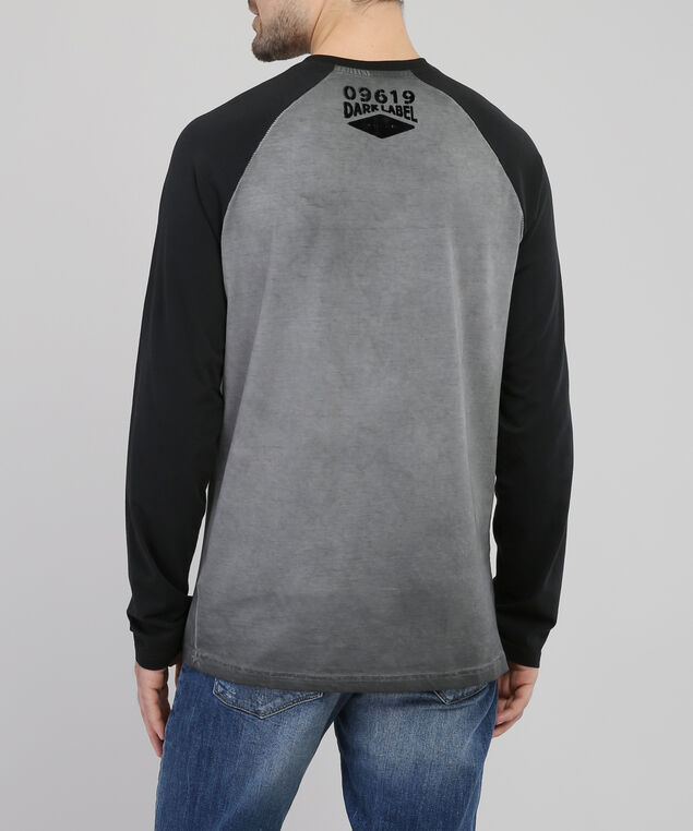 graphic henley tee - wb, CHARCOAL, hi-res