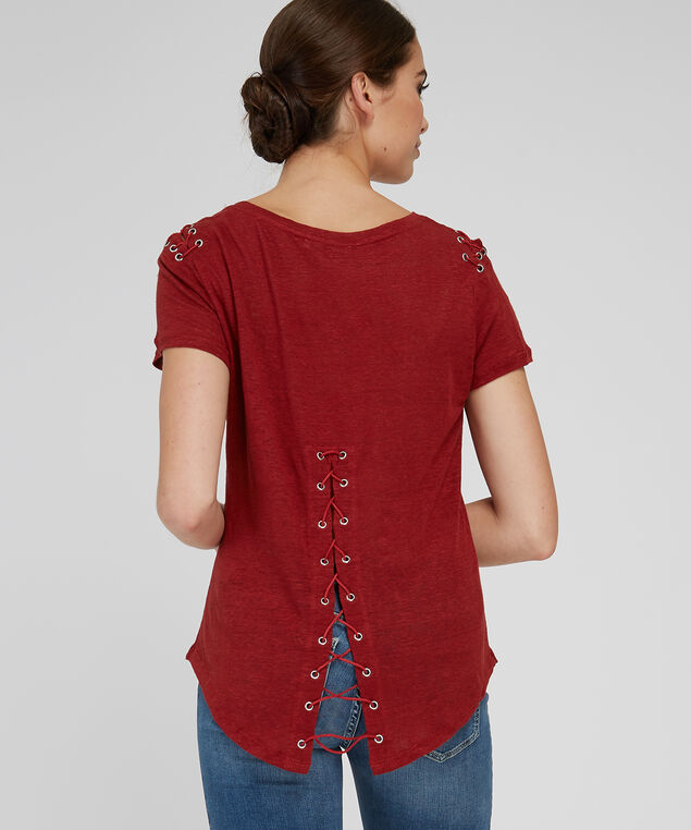 lace sleeve detail tee - wb, ORANGE, hi-res
