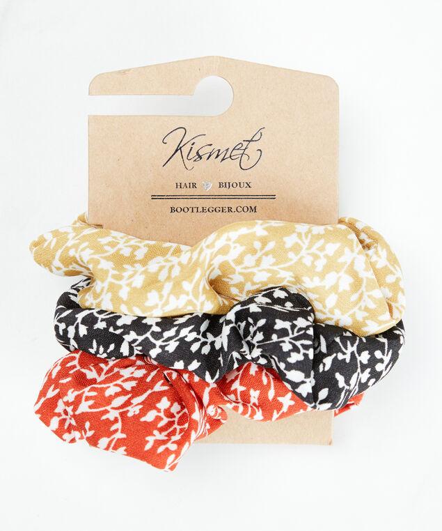 3 pack leafy pattern scrunchies, Multi