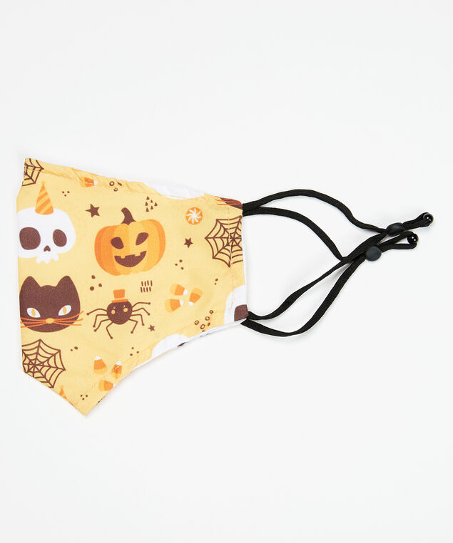 halloween ghosts face mask, Orange print, hi-res