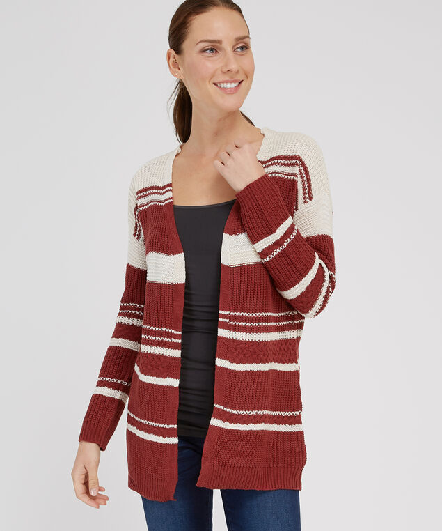 striped open cardigan - wb, CLAY COMBO, hi-res