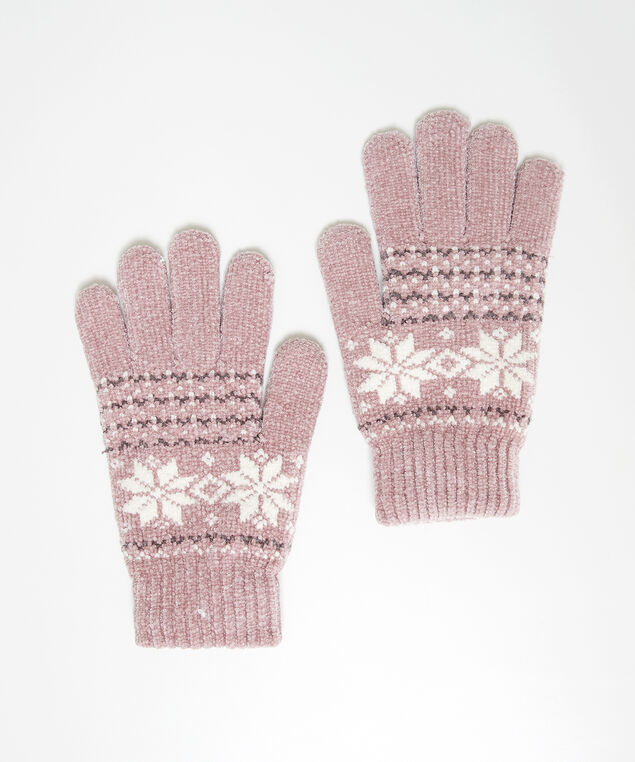chenille fairisle gloves, Pink, hi-res