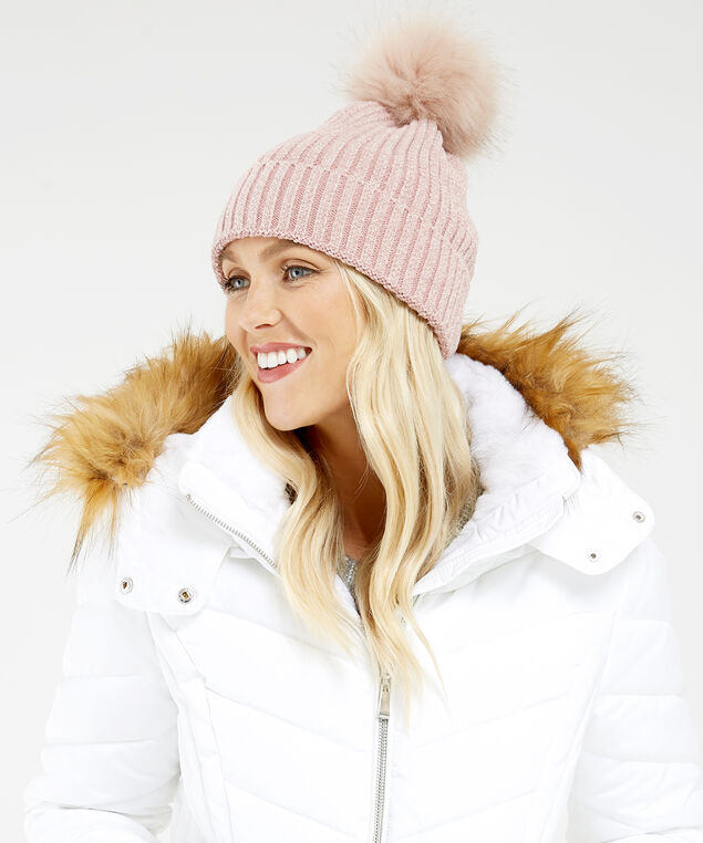 chenille beanie, PINK, hi-res