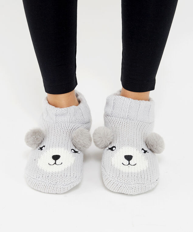 bear knit slipper socks, GREY, hi-res