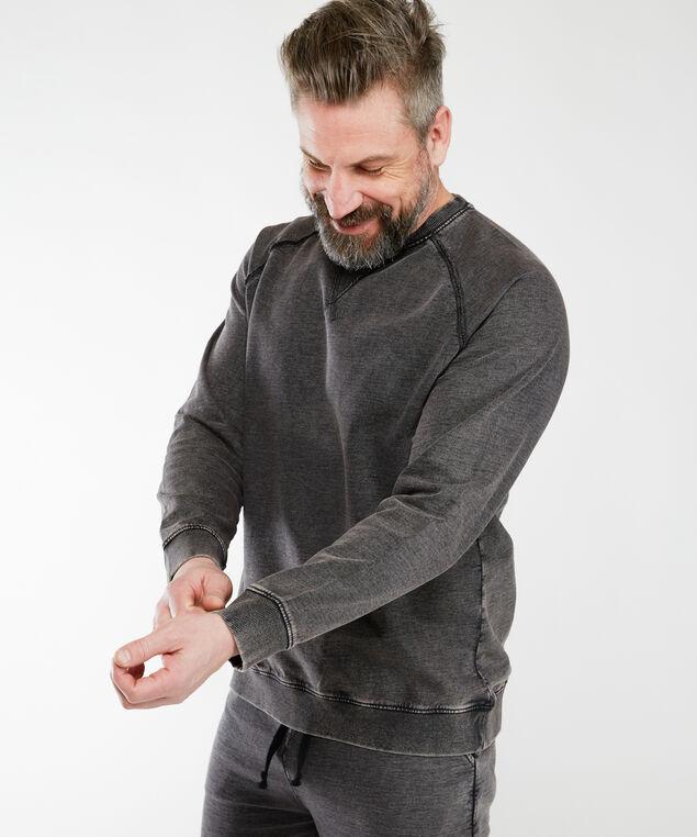 vintage wash crew neck sweatshirt, Black