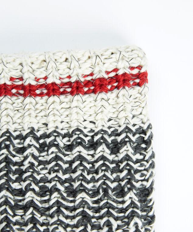 women's knit cabin neck warmer, Grey/Red