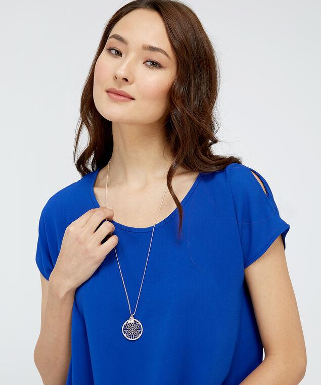 rose gold cutout pendant necklace, ROSE GOLD, hi-res