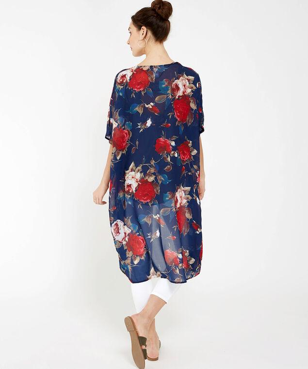 big floral print kimono, BLUE, hi-res