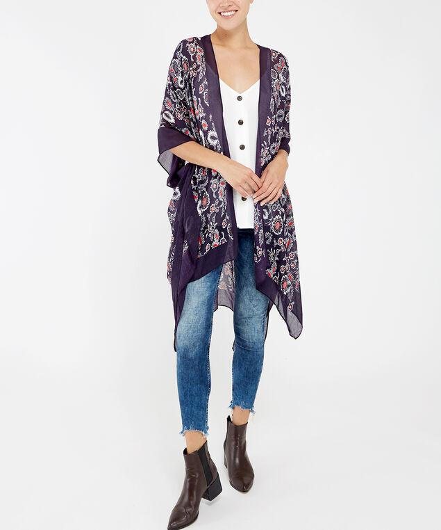 dark floral print kimono, BLACK PATTERN, hi-res