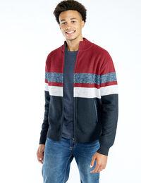 zip front lined cardigan