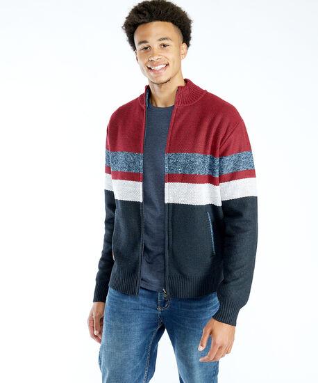 zip front lined cardigan, Red, hi-res