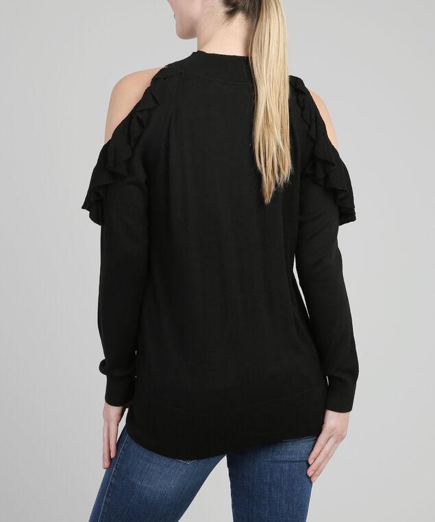 ruffled cold shoulder popover - wb, BLACK, hi-res