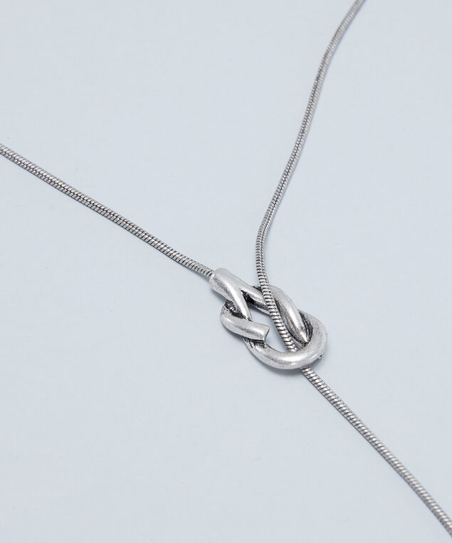 lariat knot necklace, SILVER, hi-res
