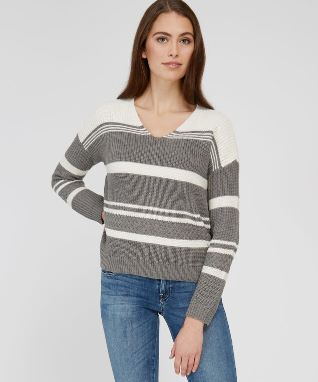 stripe pullover with lace up back - wb, GREY COMBO, hi-res