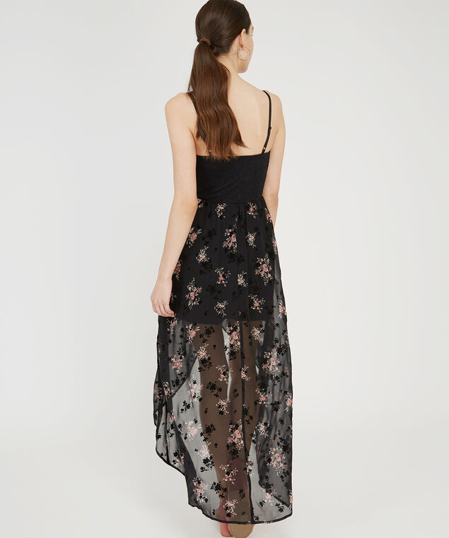 lace bodice chiffon skirt dress, BLACK FLORAL, hi-res
