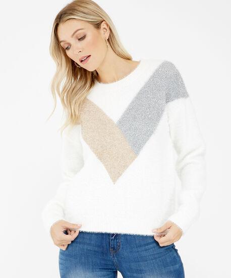 metallic eyelash knit sweater - wb, Ivory, hi-res