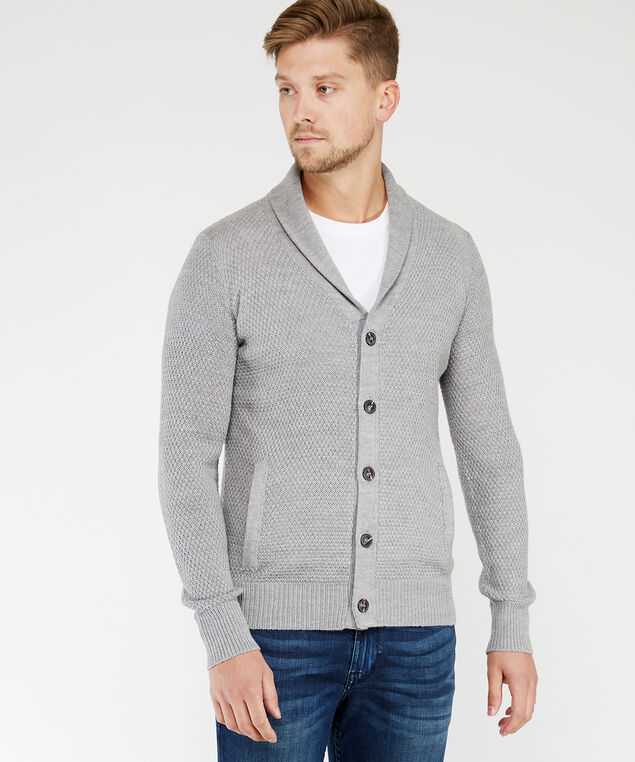 button front sweater, Grey, hi-res