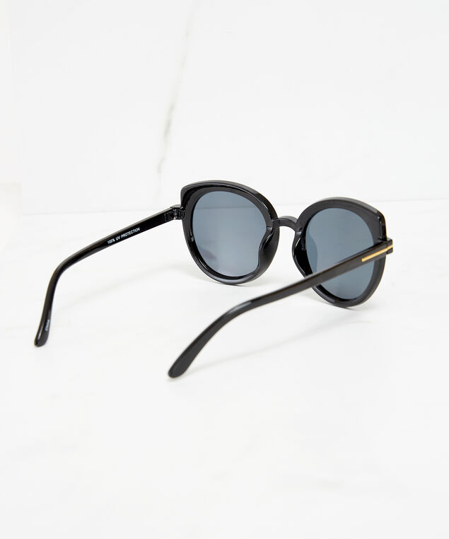 round cateye sunglasses, Black, hi-res