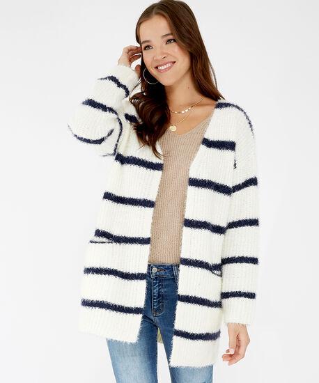 striped fuzzy cardigan - wb, White/Navy Stripe, hi-res