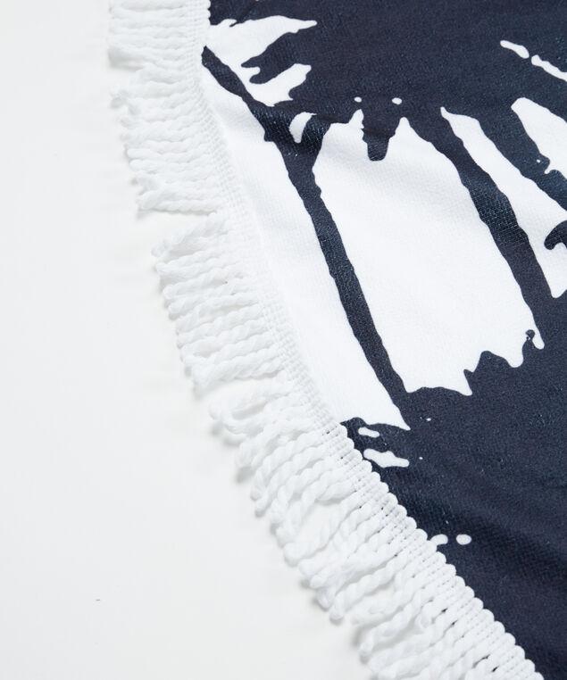 tropical print circle towel, Black/White