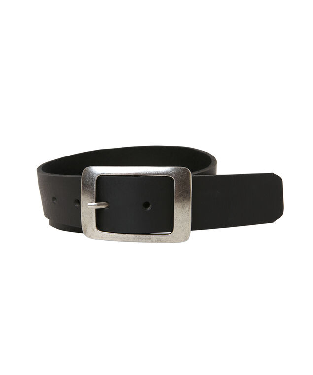 leather belt with curved buckle, BLACK, hi-res