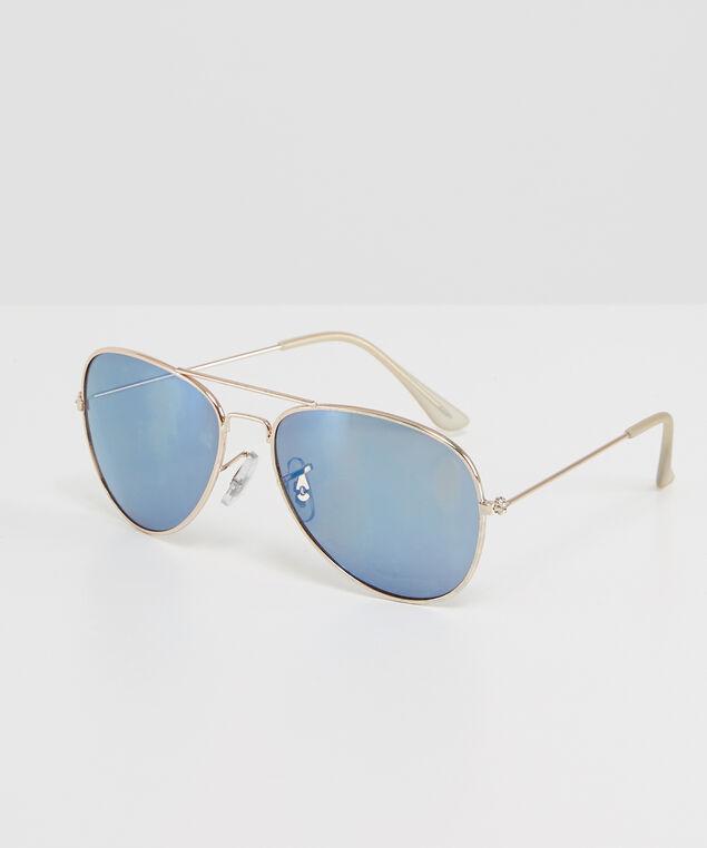 mens blue lens aviators, SILVER, hi-res
