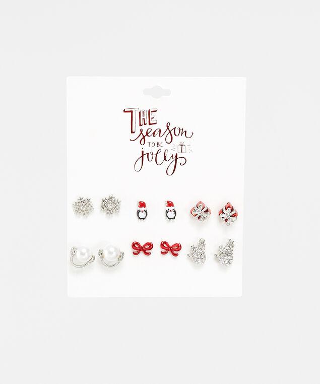6 pack christmas stud earrings, Multi, hi-res