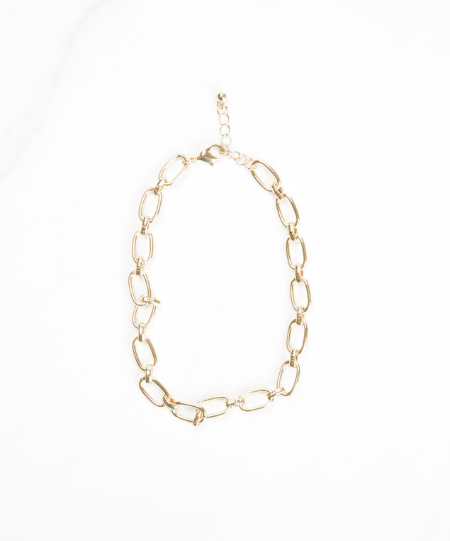 chain link anklet, Gold