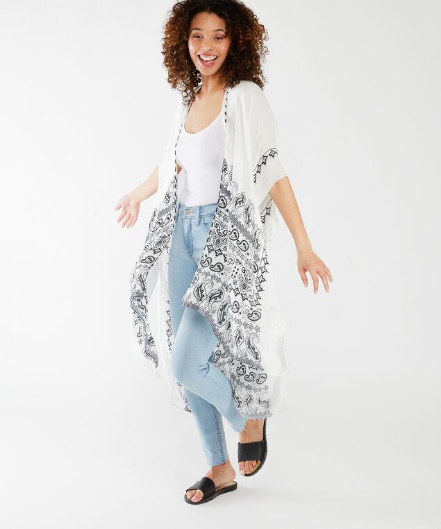 bandana print kimono, Blue White