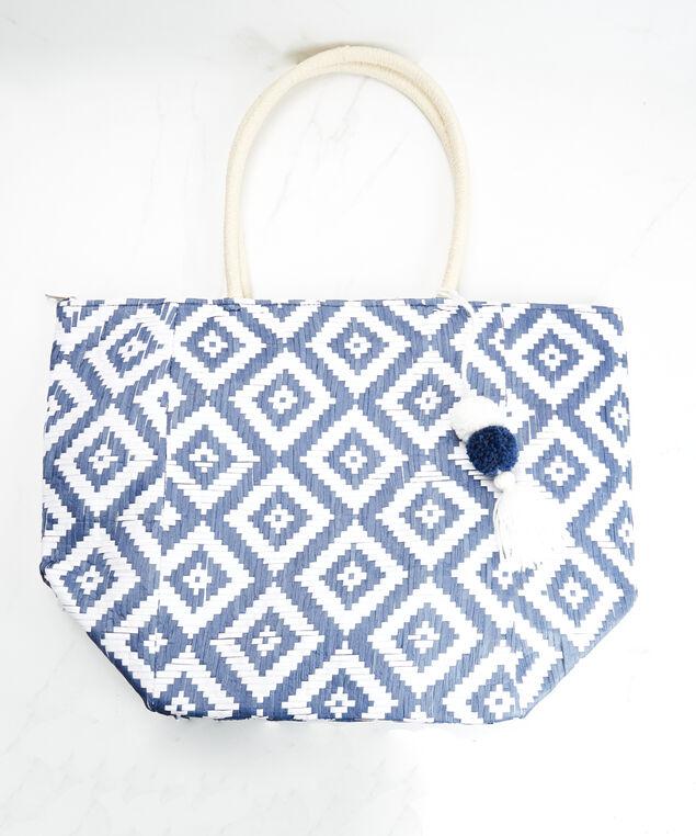 woven beach bag, Blue