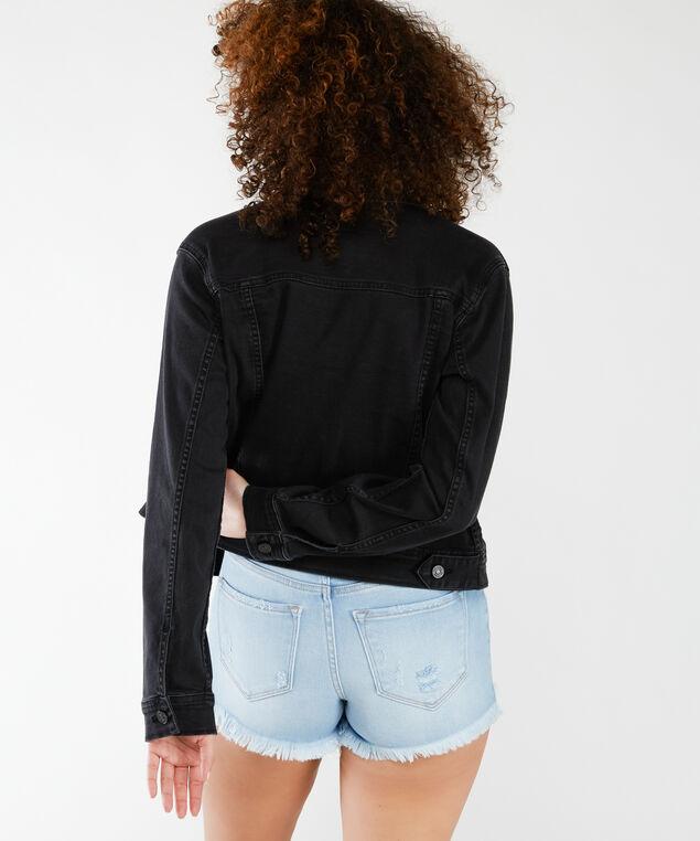 black denim jacket, Black