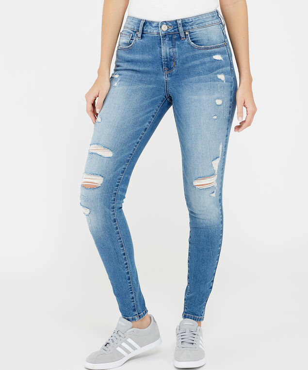 skinny high-rise destructed,