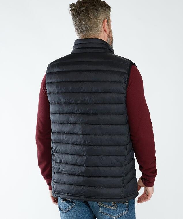 shred puffy vest, Black