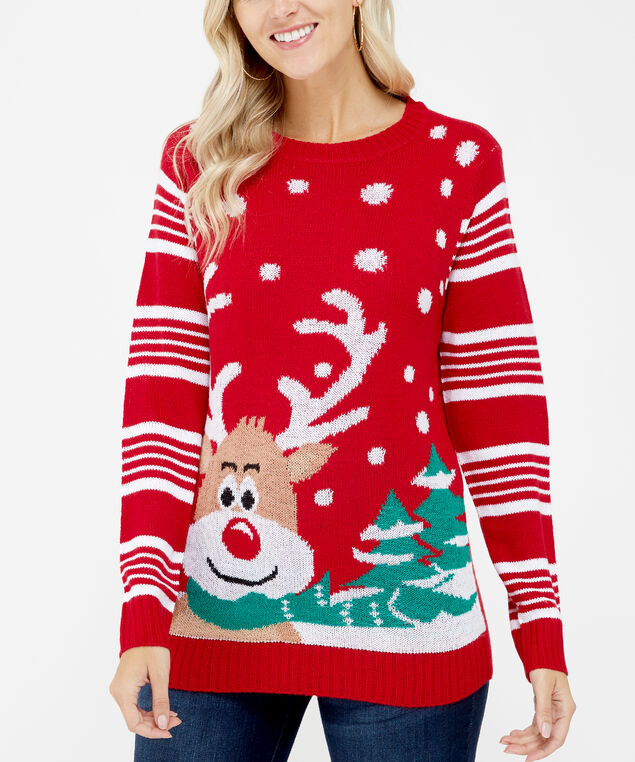 holiday sweater - wb, Red, hi-res