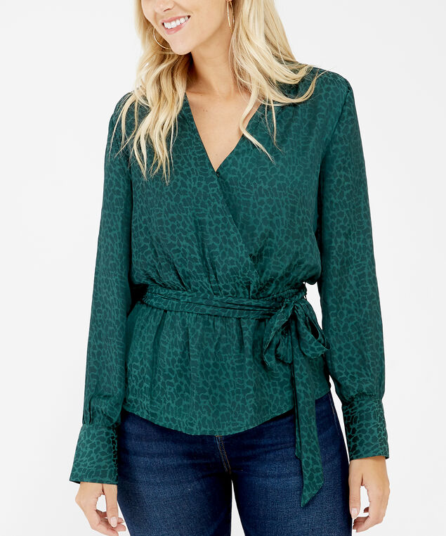 crossover blouse - wb, Green pattern, hi-res