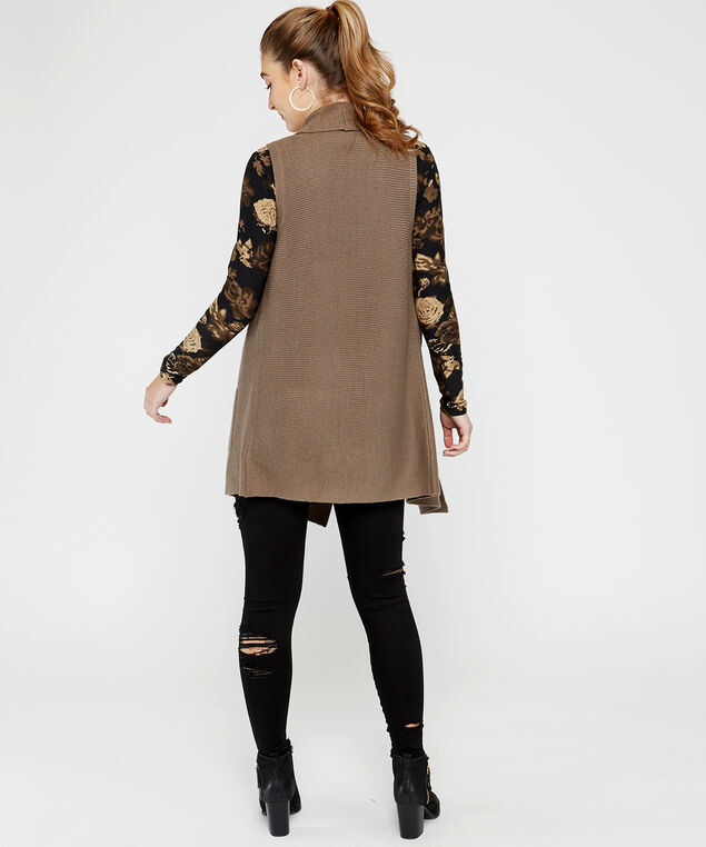 72S1294me sweater vest, Brown, hi-res