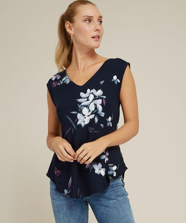 floral top with tie back, NAVY FLORAL, hi-res