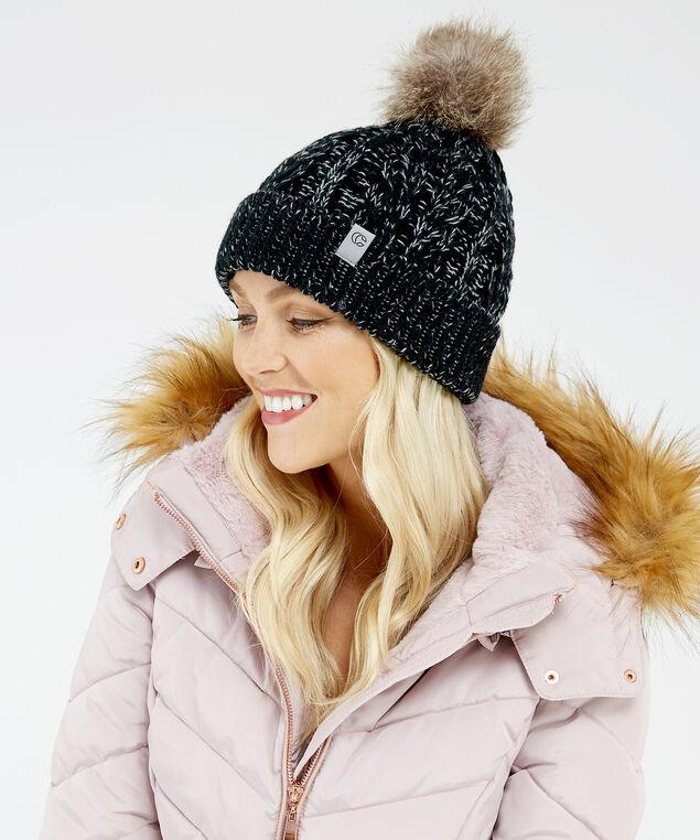 cable knit beanie, BLACK, hi-res