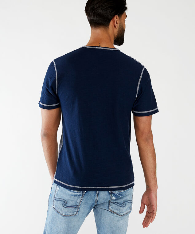 short sleeve v neck tee with grommets, Navy Combination