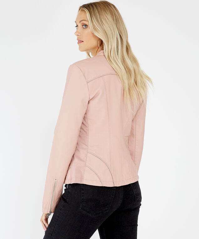 faux leather jacket - wb, PINK, hi-res