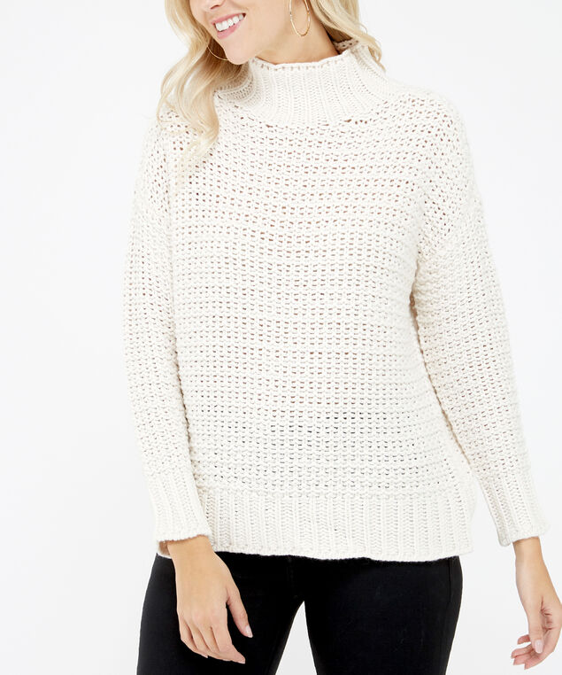 chunky turtle neck sweater - wb, Cream, hi-res