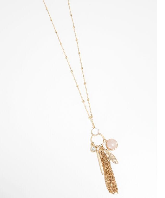 long charm necklace, GOLD, hi-res