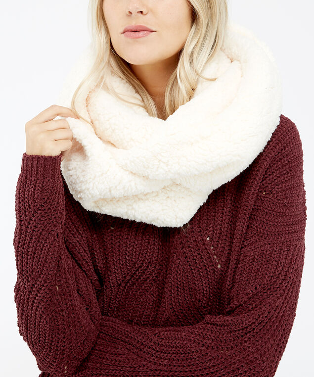 sherpa infinity scarf, IVORY, hi-res