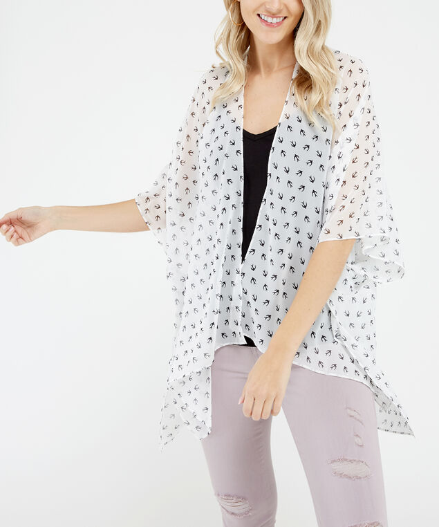printed kimono, Ivory, hi-res