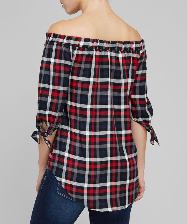 off shoulder plaid top with tie sleeve - wb, RED NAVY PLAID, hi-res