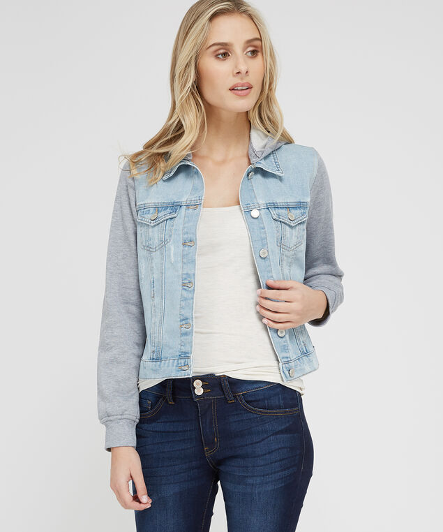 denim jacket with knit sleeves, LSW, hi-res