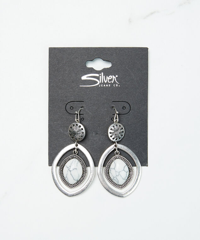 circular rhombus earrings, Silver, hi-res