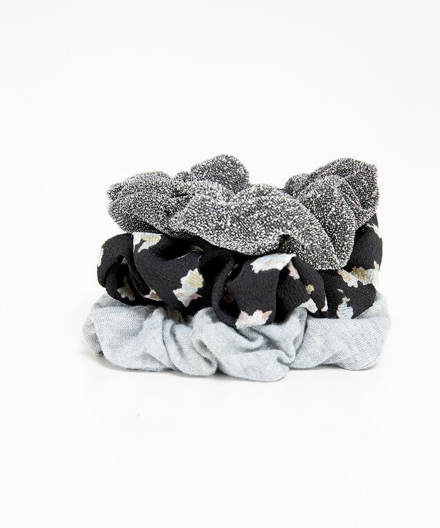 3 pack hair scrunchies, Grey, hi-res