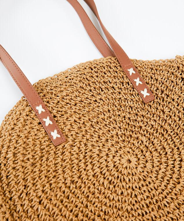 circle straw handbag, Tobacco