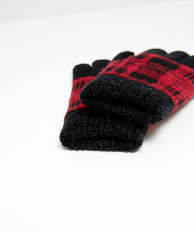 buffalo check gloves, RED, hi-res